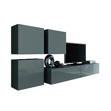 Wohnwand Vigo XXIII, Design Mediawand, Modernes Wohnzimmer Set, Anbauwand,  Hängeschrank TV Lowboard