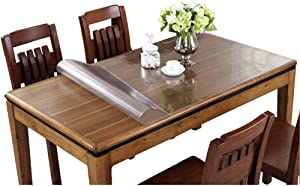 Eralove Rectangle 1.5mm & 2mm Thick Crystal Clear Table Top Protector Plastic Transparent PVC Tablecloth Kitchen Dining Room Wood Furniture Protective Cover (36 x 72 Inches, 2mm)