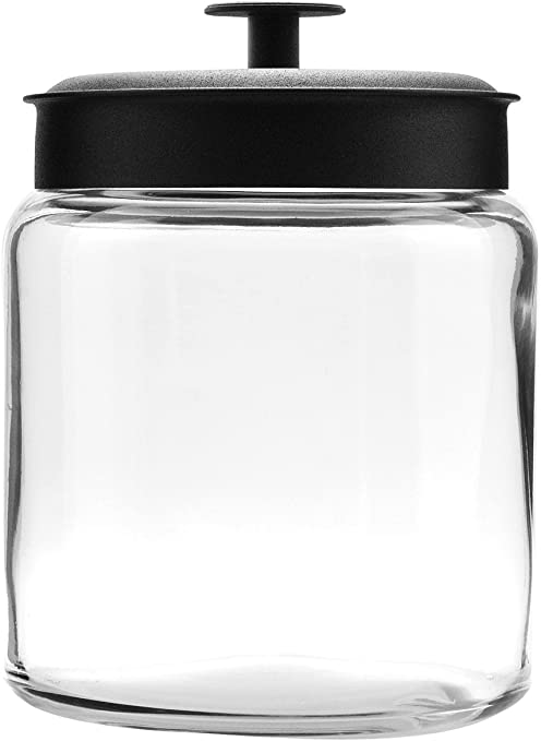 Anchor Hocking 96-oz Montana Glass Jars with Fresh Seal Lids, Black Metal, Set of 2