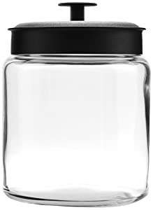Anchor Hocking Montana Glass Jars withFresh Sealed Lids, Black Metal, 96 oz (Set of 2)