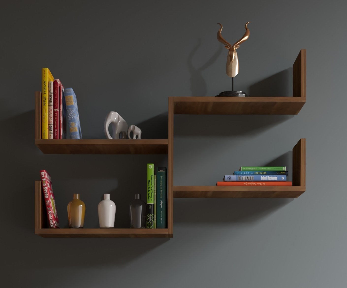 Homidea Fresh Wandregal - Bücherregal - Hängeregal - Dekoregal für Wohnzimmer in modernem Design (Nussbaum)