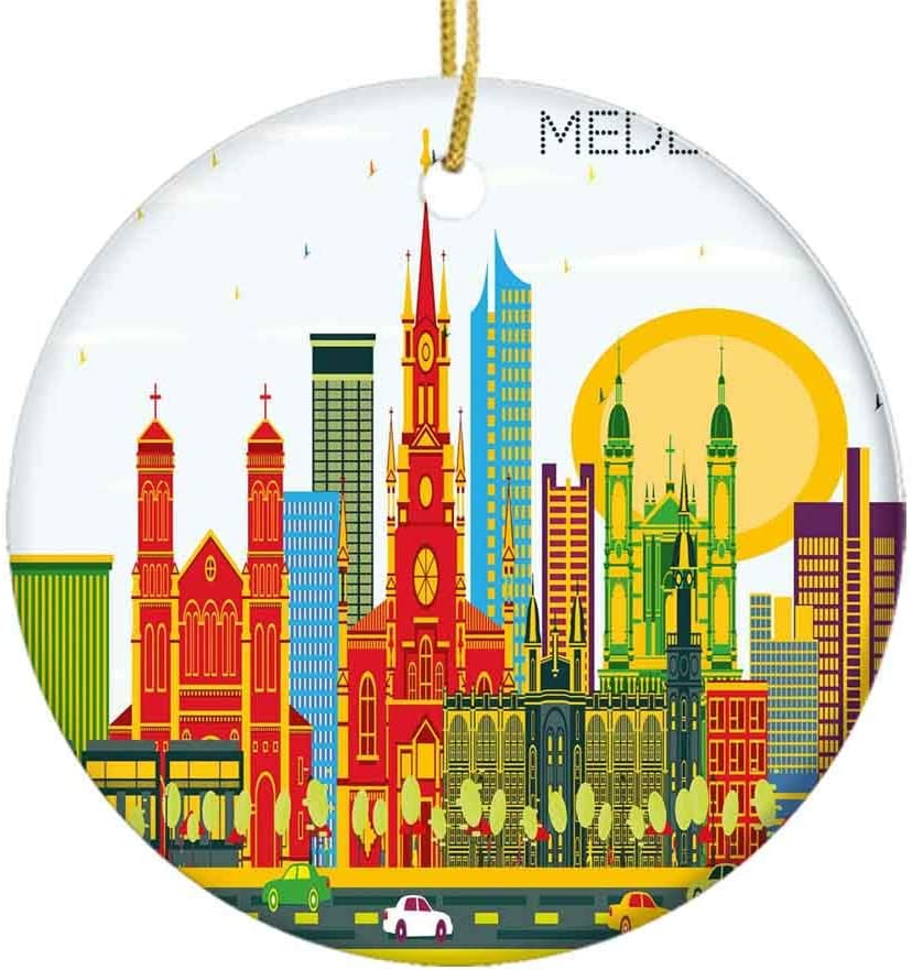 Amazon Com Mak060kft Christmas Tree Ornament Graphic Image Of Medellin Colombia City With Modern Buildings And Cars On Roads Ceramic Ornament Holiday Ornament Friends Gift Ceramic Holiday Decoration 2 8in Home Kitchen