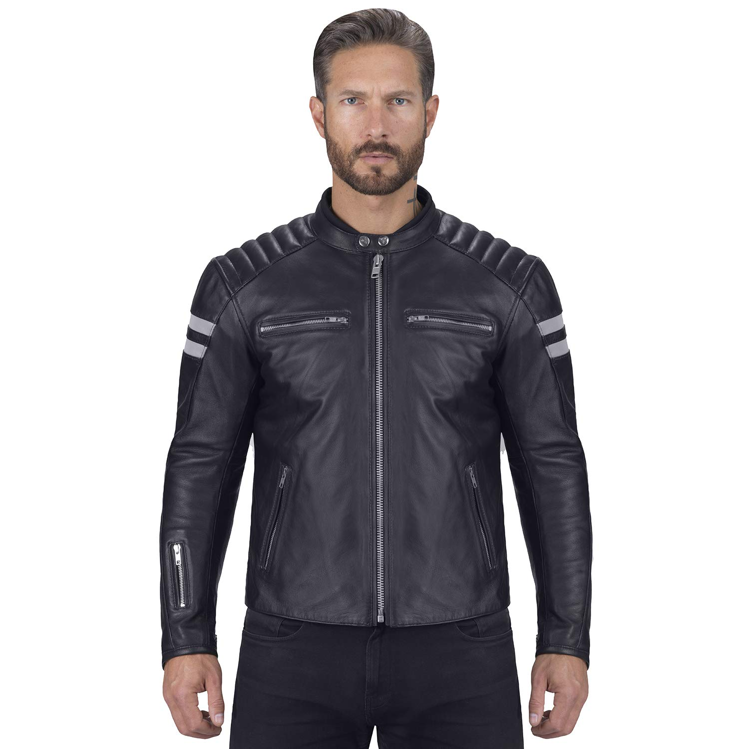 Viking Cycle Bloodaxe Leather Motorcycle Jacket for Men (X-Small)