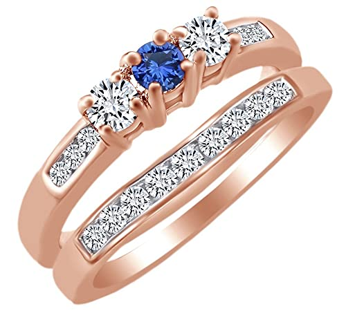 Amazon Com Affy Simulated Blue Sapphire White Natural Diamond 3