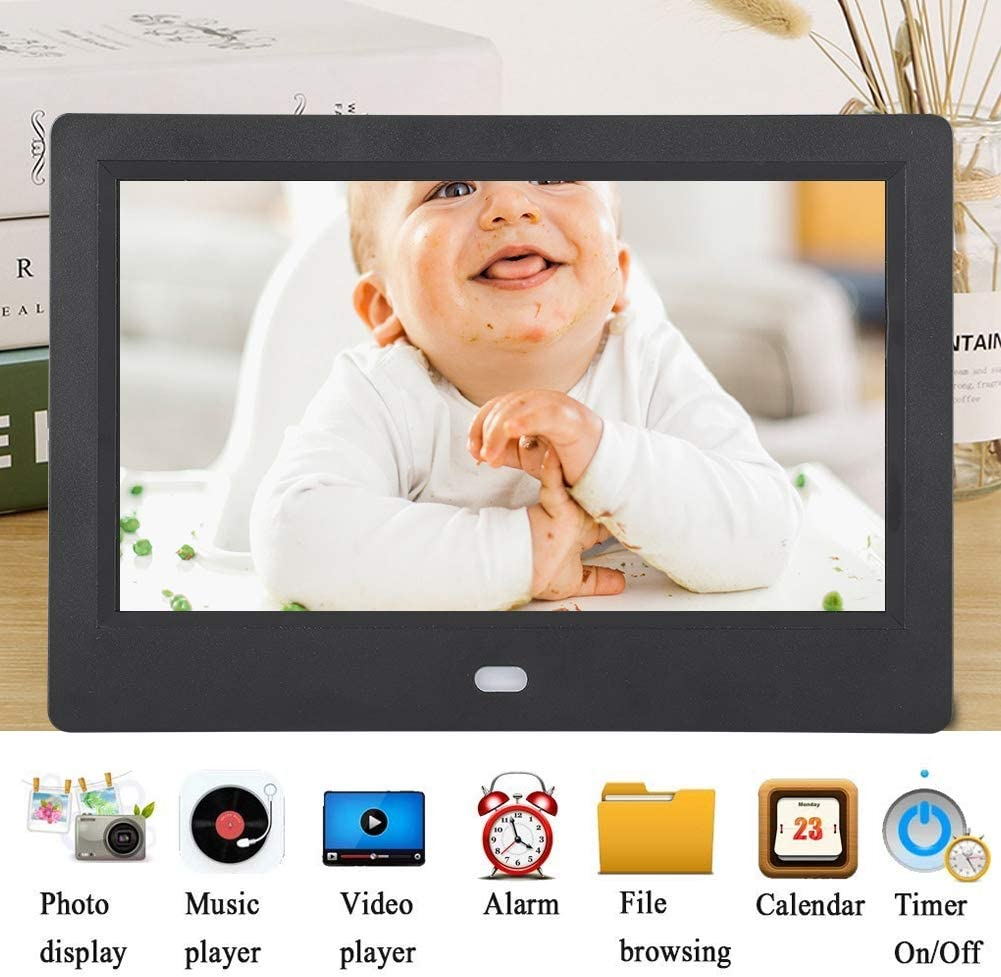 Black Digital Photo Frame,7 Inch Display Digital Picture Frame Photos Smart Digital Picture Frame Upgraded Digital Photo Frame with 16:9 Screen,Support 720P Videos