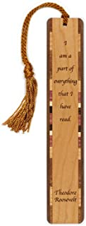 product image for Theodore Roosevelt Reading Quote Engraved Wooden Bookmark with Tassel - Search B07F46YQV6 for Personalized Version