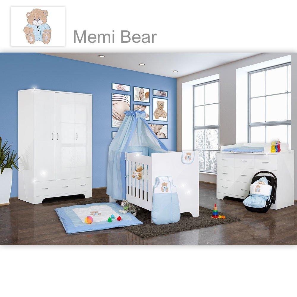 Hochglanz Babyzimmer Memi 19-tlg. mit Textilien Memi in Blau