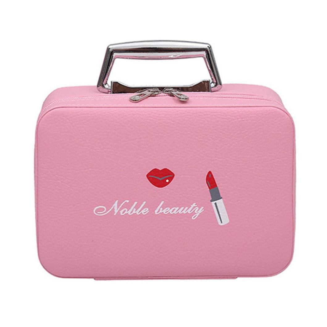 FTXJ Portable Travel Makeup Bag Makeup Case Mini Makeup Train Case Zipper Storage (D)