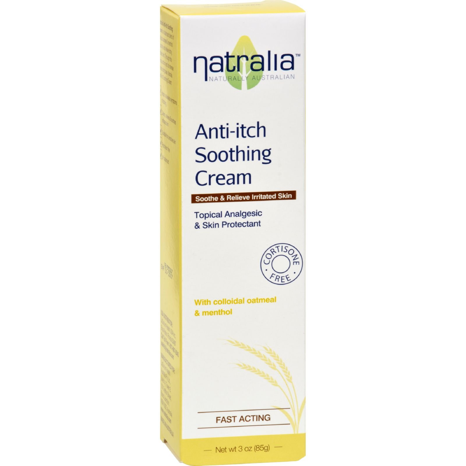 Natralia Anti Itch Soothing Cream - Oatmeal and Menthol - Soothe and Relieve Irritated Skin - 3 oz (Pack of 2)