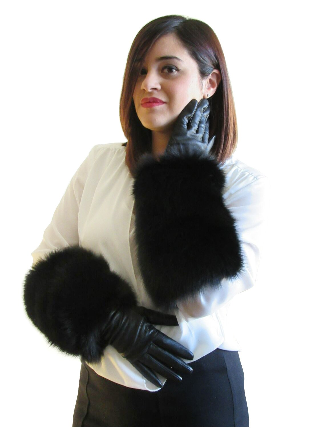 Black Cashmere Lined Leather Gloves Extended to Opera Length by Black Fox Cuffs 6.5 by FursNewYork