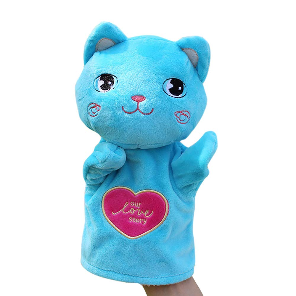 Kids Glove One Hand Puppet Soft Plush Finger Toys Cute Cartoon Animal Doll Toys for Children Children's Day Gifts Props(Cat)