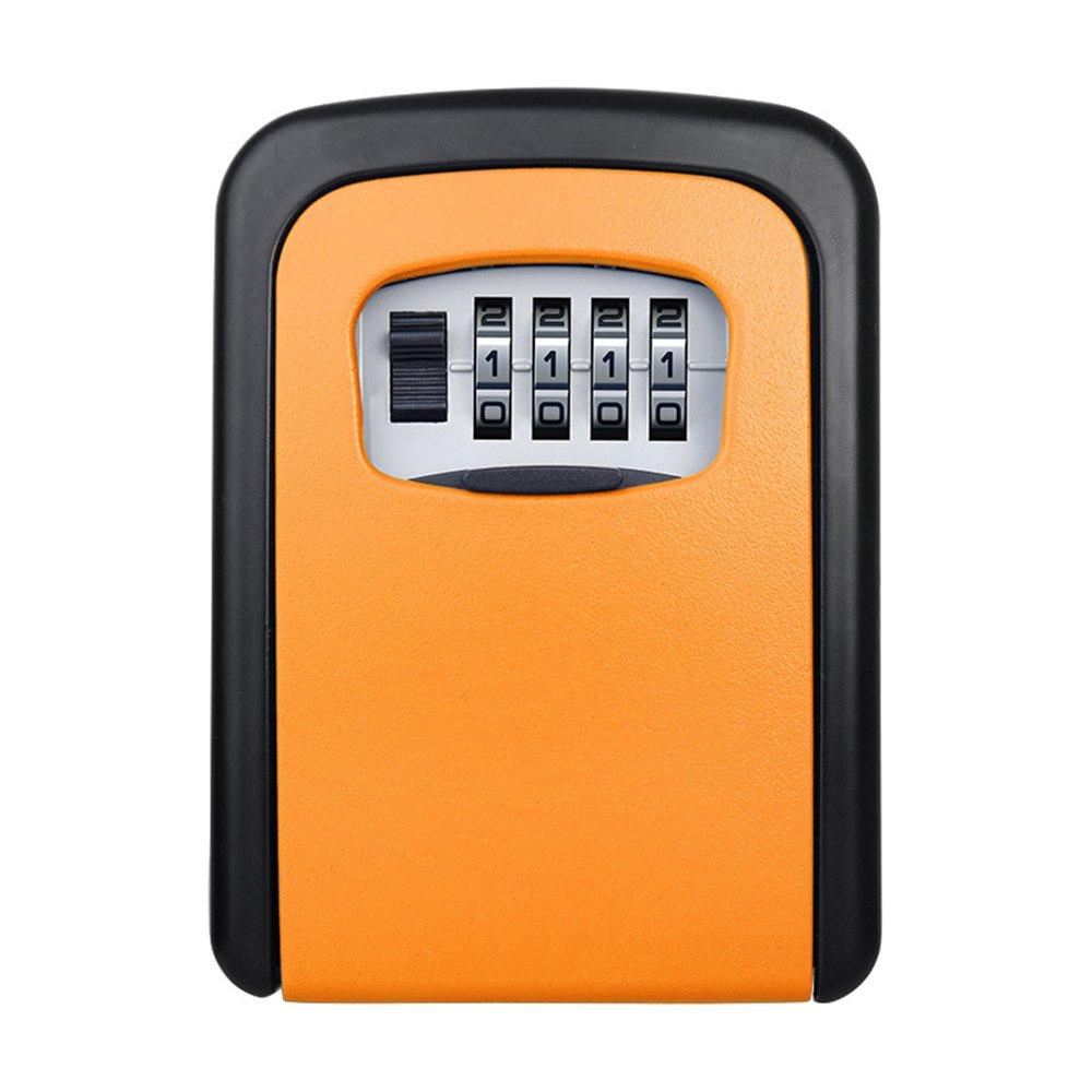 ELEOPTION Safe Key Lock Box Wall Mount With Code 4 Digit Combination Lock For Outside Door House Home Car Office Key Locker (Orange)