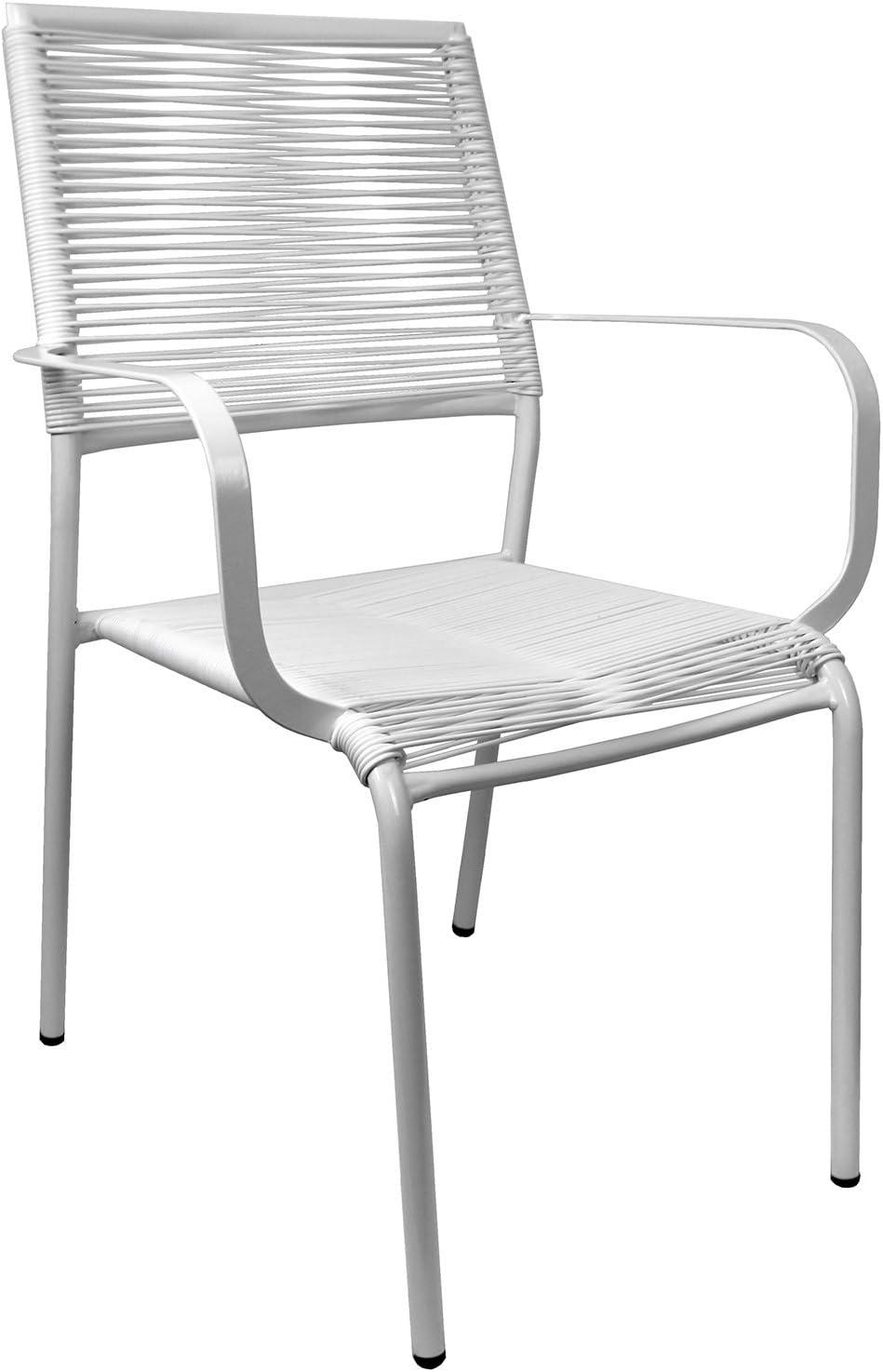 Spaghetti silla apilable con reposabrazos, estructura de metal ...