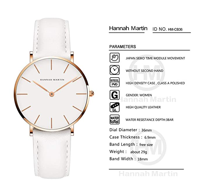 Amazon.com: Hannah Martin Electronic Waterproof Leather Band Wrist Watches with Japan Movement for Women,FB: Electronics