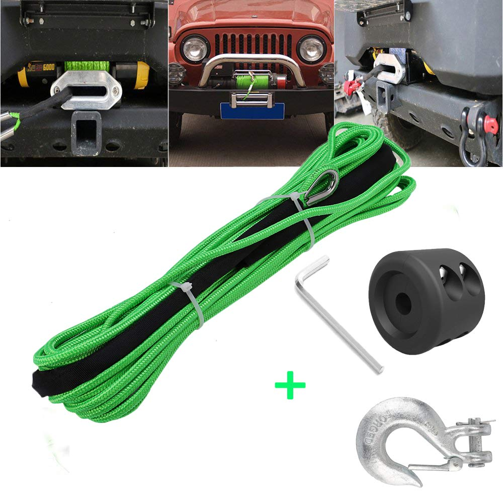 Synthetic Winch Rope 50'x1/4' Snap Hook and Rubber Stopper Strong Durable Dyneema Cable Green Winch Rope 7800lbs with Sheath for atvs Winches ATV UTV SUV Truck Boat Ramsey Car Motorcycle Samlighting