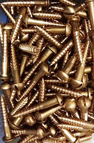Quantity: 100 inch Drive: Slotted RoHS Compliant Brass, #6 x 1-1//2 Wood Screw Head Style: Round,