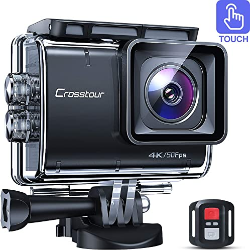 Crosstour CT9700 Native 4K50fps Touch Screen Action Camera 20MP Underwater Camcorder LDC, EIS, 40M Waterproof, WiFi, Remote Control, Mounting Accessories Kit