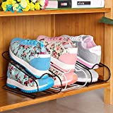 WWZY Double layer Iron Shoe rack Finishing frame Shoes shelves Shelf High 13 wide 10.5 long 25cm / pack of 3 , white
