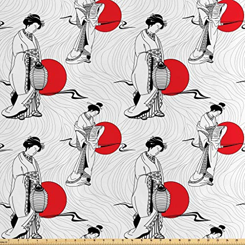Lunarable Japan Fabric by The Yard, Cultural Pattern with Geisha Woman in Kimono Costume on Abstract Wavy Backdrop, Decorative Satin Fabric for Home Textiles and Crafts, 10 Yards, Orange White