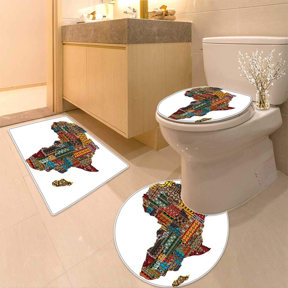 HuaWuhome 3 Piece Toilet lid Cover mat Set Africa map with Countries Made of Ethnic Textures Printed