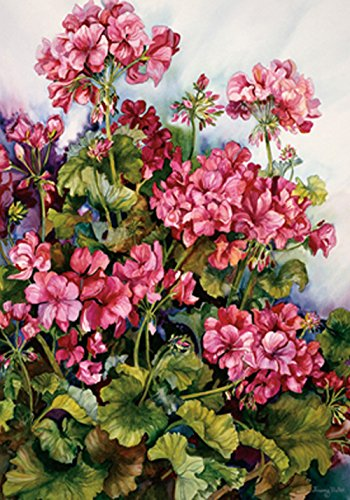 Toland Home Garden Red Geranium 12.5 x 18 Inch Decorative Colorful Spring Summer Flower Garden Flag