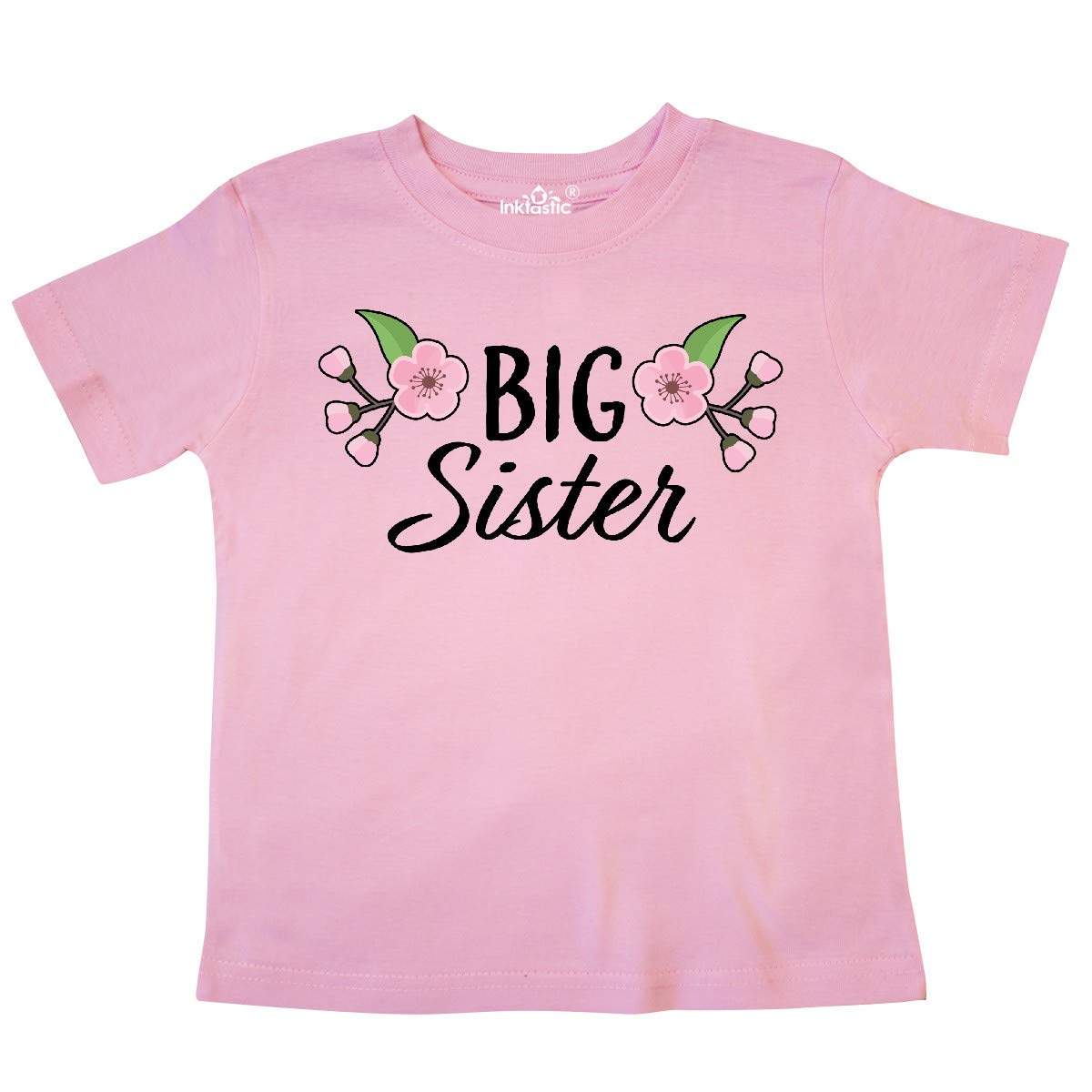 inktastic Big Sister with Cherry Blossom Flowers Toddler T-Shirt