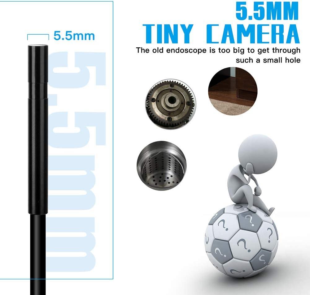 Wireless Endoskop Mit Semi-Rigid-Inspektionskamera IP67 Wasserdichten Schlange-Kamera F/ür Android Und Ios Zoombare Inspektionskamera Smartphone Tablet,2m 6.6ft