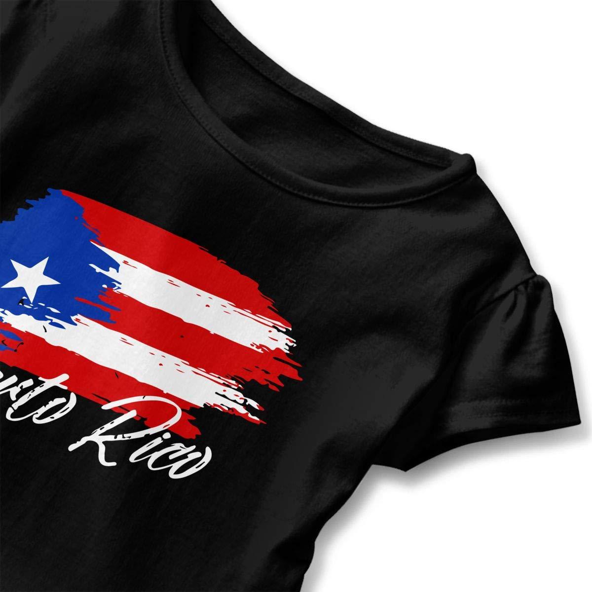 Puerto Rican Flag Grunge Design Kids Girls Short Sleeve T Shirts Ruffles Shirt T-Shirt for 2-6T
