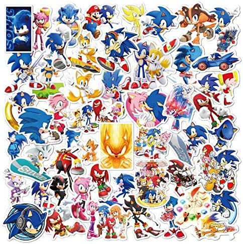 50pcs Hawaii Sonic The Hedgehog Stickers Cartoon Sticker for Laptop Computer Skateboard Luggage Helmet Toy Stickers