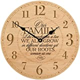 Wedding Gifts for parents Modern Decorative desk Wall Clocks Housewarming Anniversary Gift ideas for Couple Laser Engraved Our Family like Branches on a tree 12''x12'' By Dayspring Milestones (Maple)