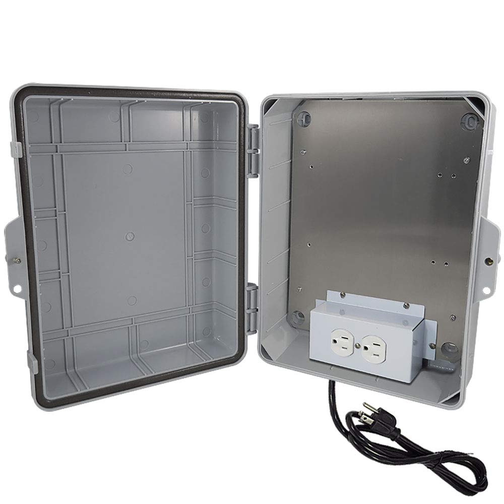 Altelix NEMA Enclosure (9.5'' x 8'' x 4'' Inside Space) Polycarbonate + ABS Weatherproof with Aluminum Equipment Mounting Plate, Pre-Wired 120 VAC Outlets, 5 Foot Power Cord