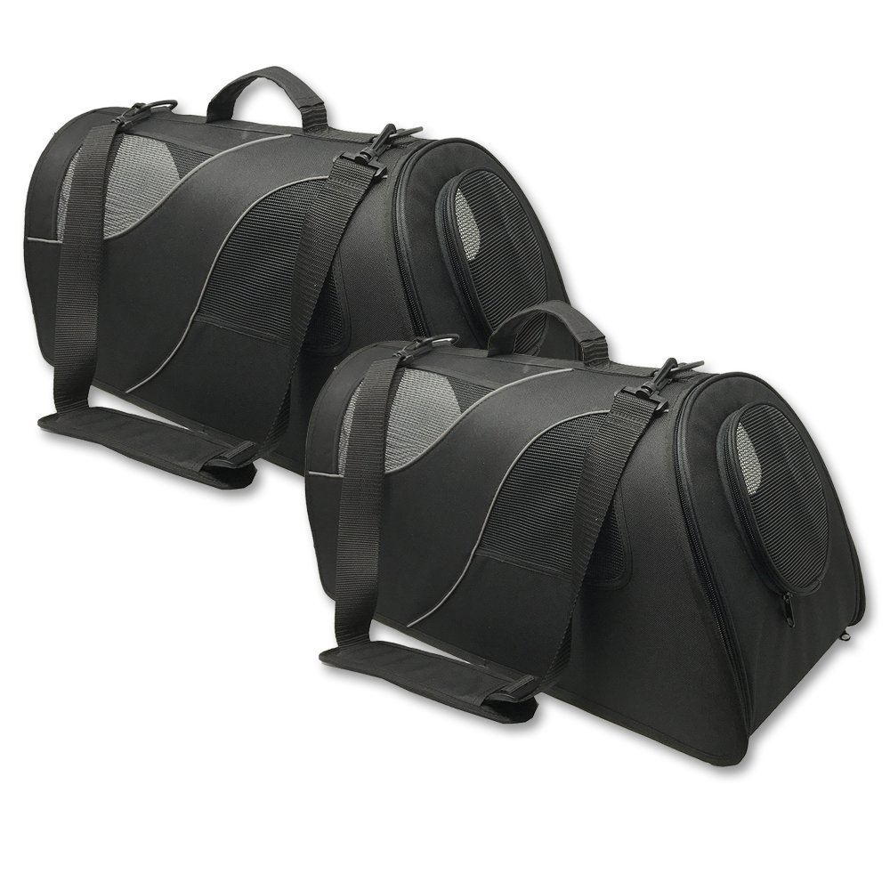2-Pack Fuzzy Buddy FB-SS-BL-2 Soft-Sided Pet Carrier for Small Dogs and Cats, Black, 2-Pack