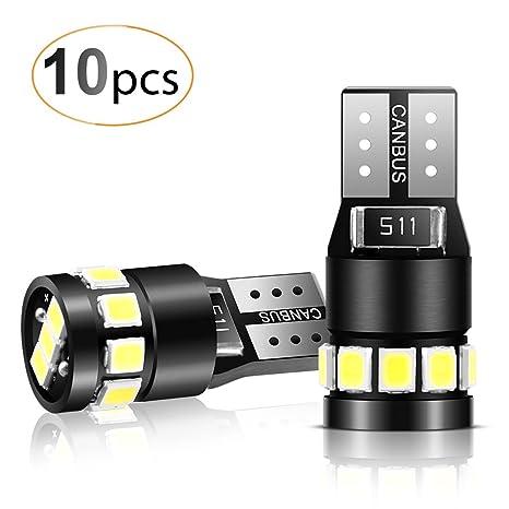 AGPTEK 10x T10 LED Bombillas 12 SMD 2835 LED CANBUS de 6000K W5W 168 194 y