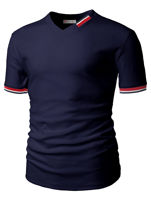 【H2H】 メンズ カジュアル ファッション Vネック ボタン デザイン Tシャツ ポケット付き JDSK16 B071Y6NS6Y XL|Cmtts0199-navy Cmtts0199-navy XL