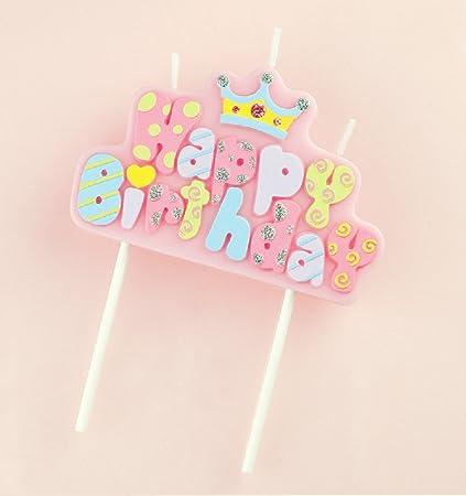 Amazon.com: Rojo cereza feliz cumpleaños letras velas de ...