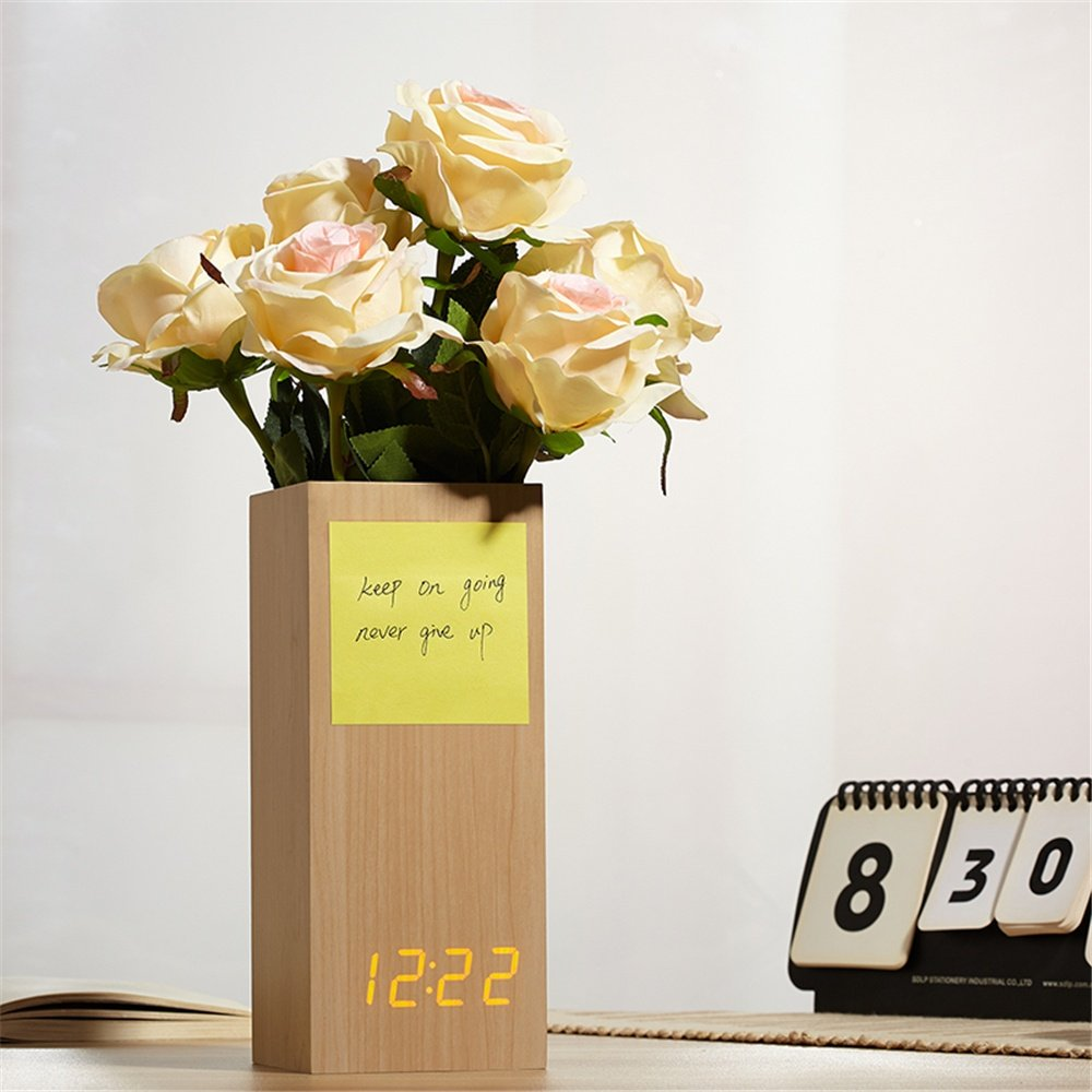 Mettime LED Digital Alarma Despertador de Madera 3 Ajuste de ...