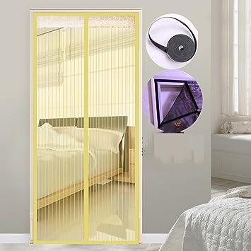 COOLBITE Fáciles De Quitar Simple Mosquitera Puerta Marco De Velcro Completo,Fácil De Instalar Anti-mosquito Cortina Mosquitera Magnética Para Casa-beige ...