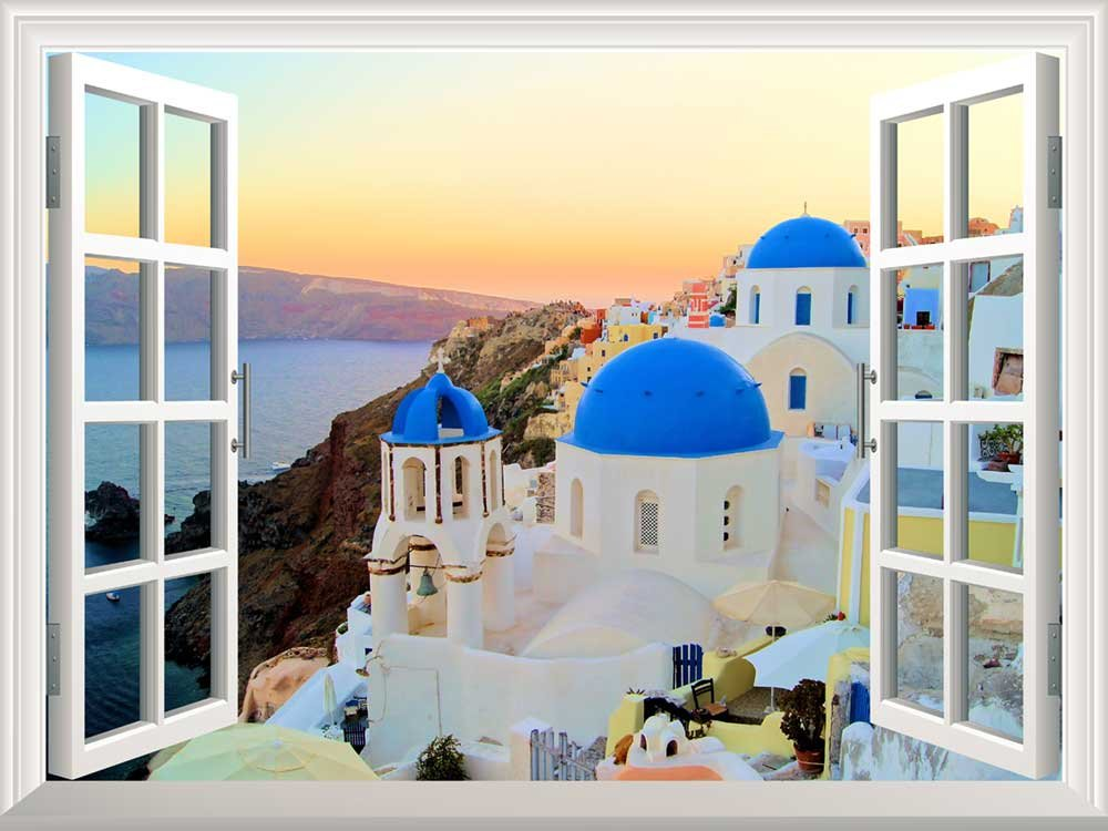 wall26 Removable Wall Sticker/Wall Mural - Sunset View of The Blue Dome Churches of Santorini, Greece | Creative Window View Home Decor/Wall Decor - 36''x48''
