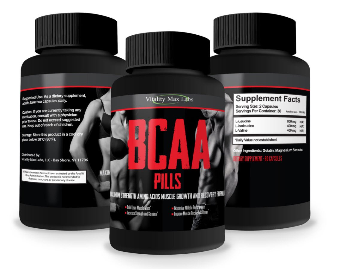 BCAA Pills - Potent & Powerful Blend of Amino Acids by Vitality Max Labs - Build Muscle Combat Muscle Break Down - Increase Muscle Mass, Stamina and Recovery Time (5)