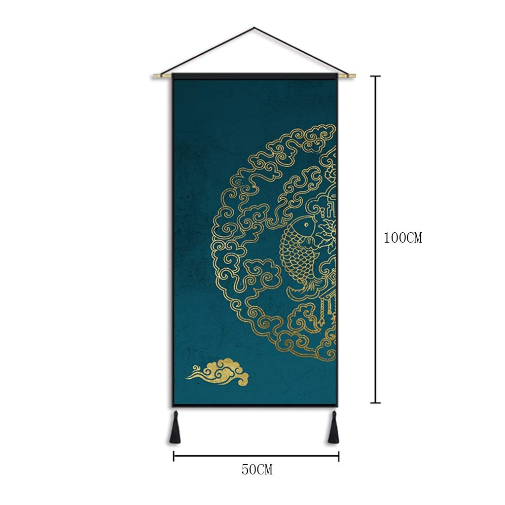 Wall Hanging Chinese Art Style Tapestry Room Living Room Porch Decorative Tapestry Wall Covering Tapestry -100CM×50CM Tapestry (Pattern : A) by HappyL