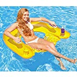 Intex Inflatable 60' Sit n Float Swimming Pool Beach Chair Lilo Lounger Air Mat (Yellow)