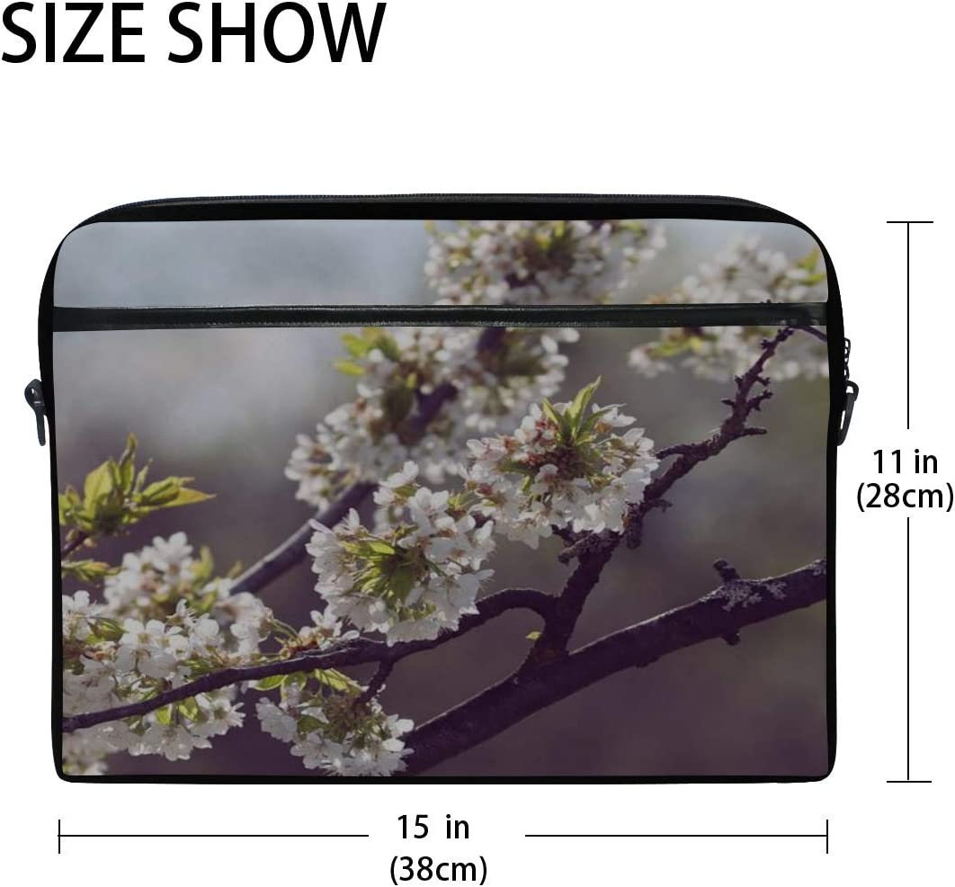 Rh Studio Laptop Bag with Shoulder Strap Handle Cherry Blossoms Flowers Spring Messenger Bag Case Sleeve for 14 to 15.6 Inch with Adjustable Notebook Shoulder Strap