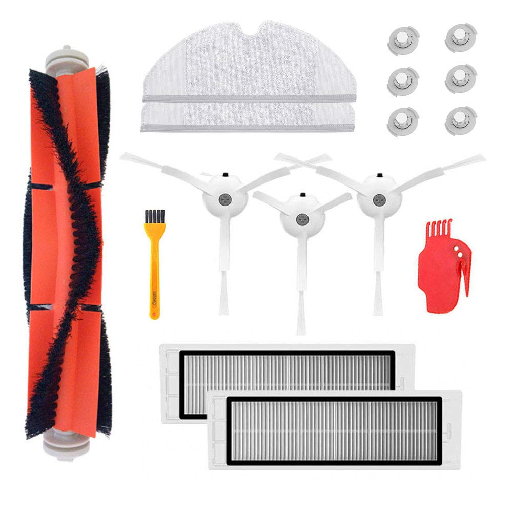 Accessores for Xiaomi Mi Robot Roborock s50 s51 Roborock 2 Vacuum Cleaner 2 Replacement Parts Pack of Main Brush,Hepa Filter,Side Brush,Cleaning Tool,Mop Cloth and Water Tank Filter aoteng