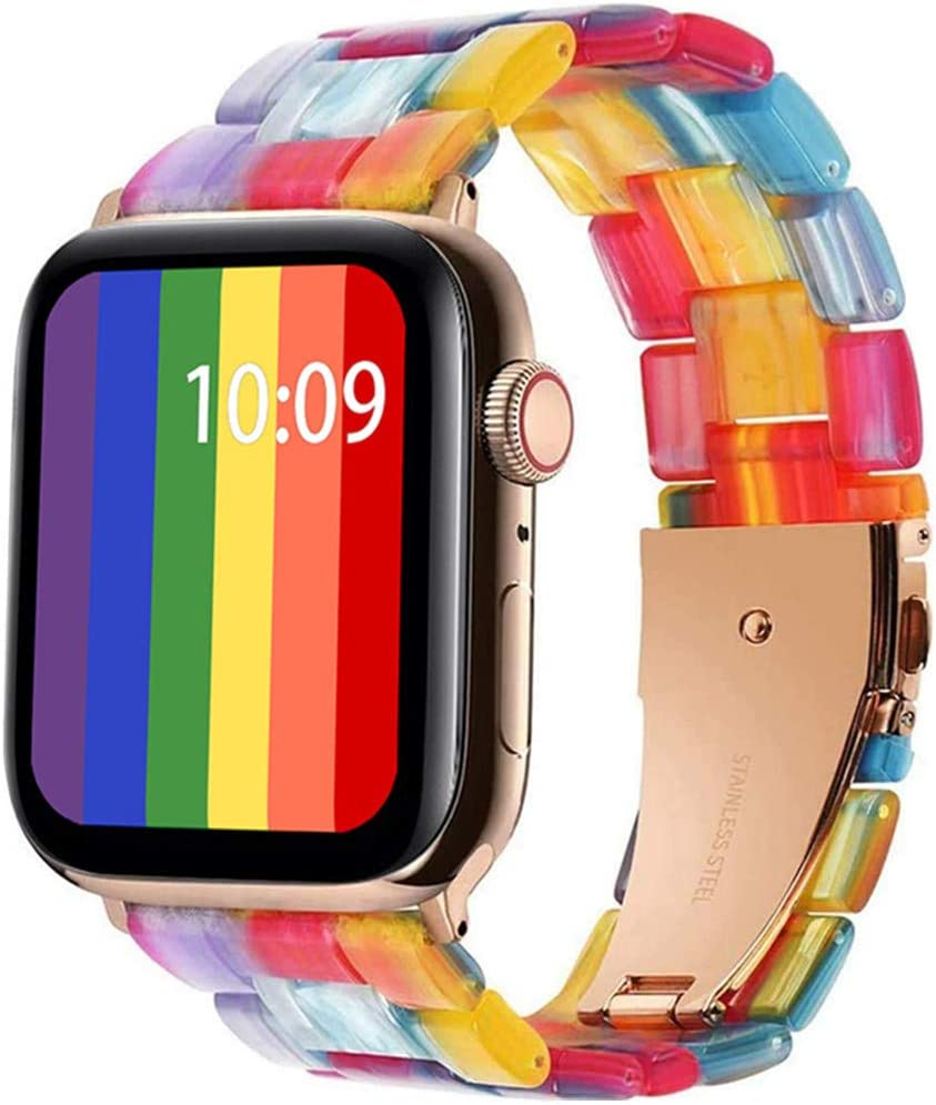 SIXRARI Ultra-Light Watch Band Stylish Resin Replacement Wristband Bracelet with Copper Stainless Steel Buckle for Apple iWatch Series 6 Series 5 Series 4 Series 3 Series 2 Series 1