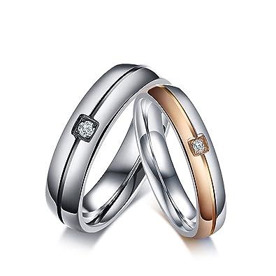 KNSAM - anillos de bodas de acero inoxidable para hombres y mujeres, anillos de boda