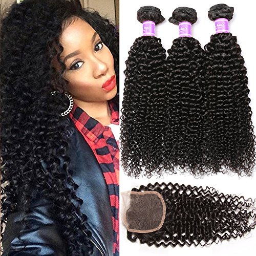Flady Brazilian Curly Hair with Closure 18 20 22+16inch 8a Unprocessed Brazilian Virgin Hair 3 Bundles with Free Part Closure Natural Black Human Hair Bundles With Closure by Flady