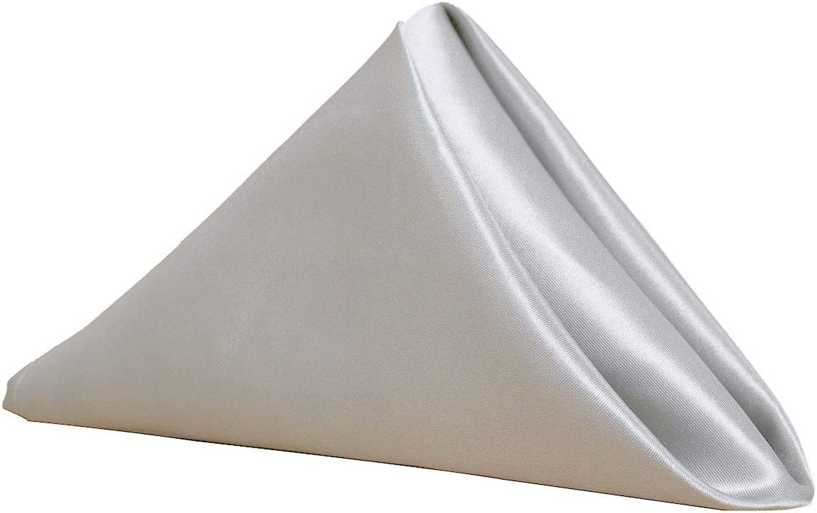 Your Chair Covers 20 Inch Satin Cloth Napkins (Pack of 10) (Silver)