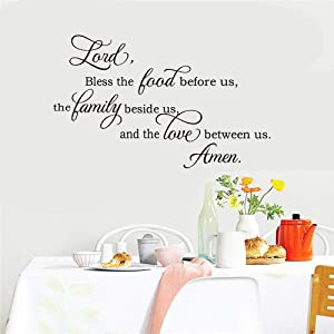 Removable Vinyl Mural Decal Quotes Art Lord Bless This Food Before Us and The Love Between Us for Living Room Couple Room Kitchen