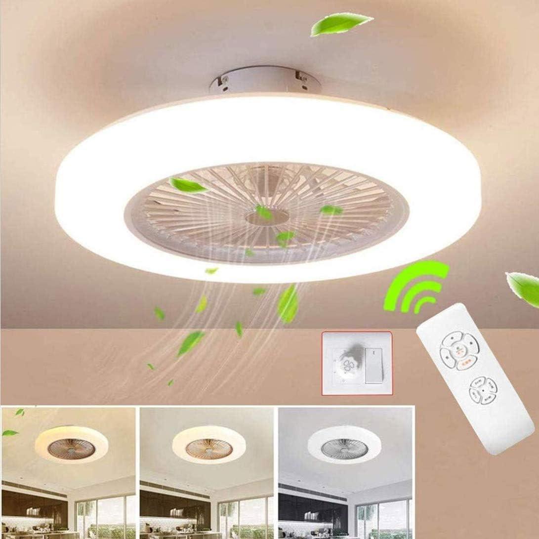 Ventilador de techo con iluminación LED, 36 W, ventilador de techo con iluminación LED, lámpara de techo con mando a distancia, ventilador invisible silencioso [clase energética A ++]