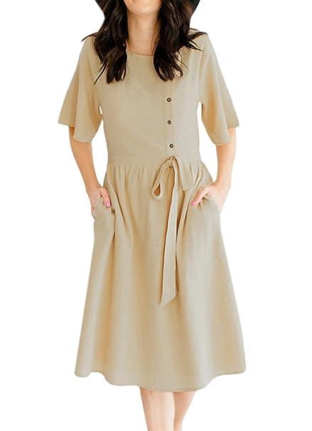 Verano Mujeres Vestidos con Corbata de Moño Casual Cuello Redondo Manga Corta Vestido de Playa Hermoso Moda Plisado por la Rodilla Vestidos de Partido ...